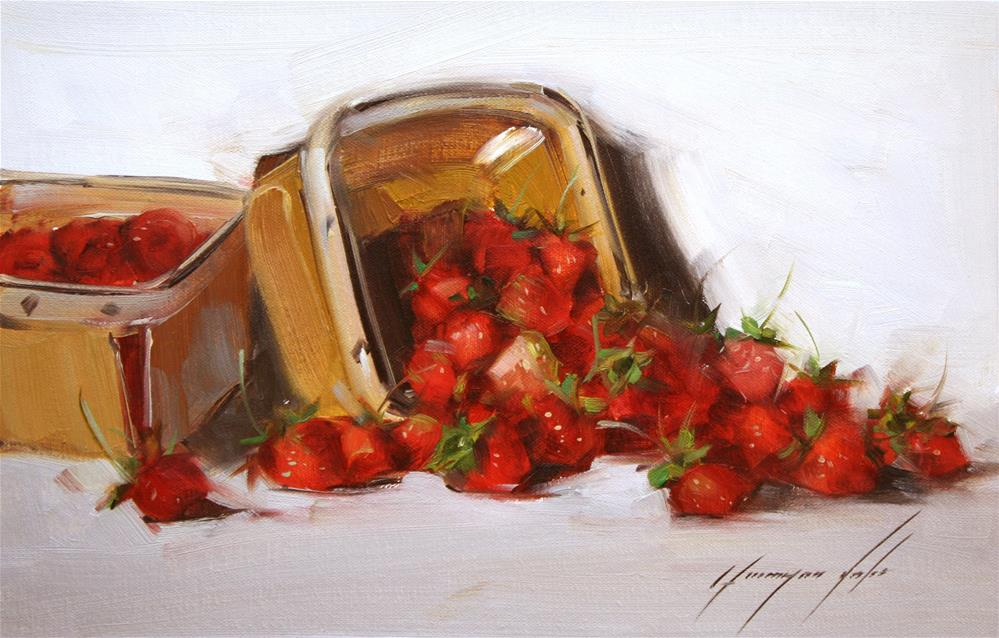 """STILL LIFE STRAWBERRIES ORIGINAL OIL PAINTING GALLERY QUALITY"" original fine art by V Yeremyan"