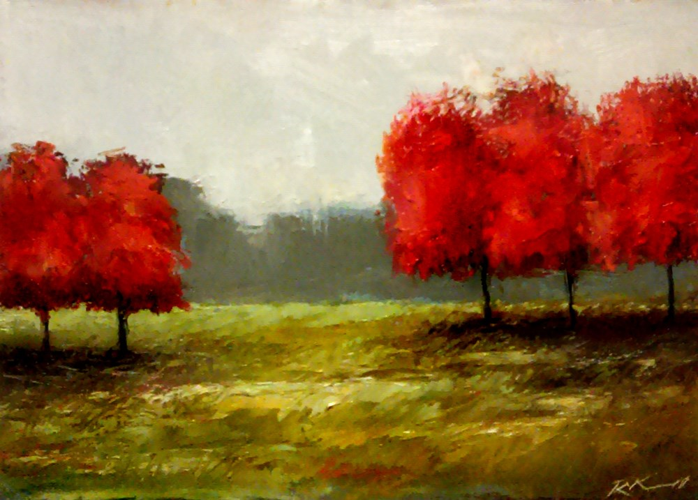 """Five Red Trees"" original fine art by Bob Kimball"