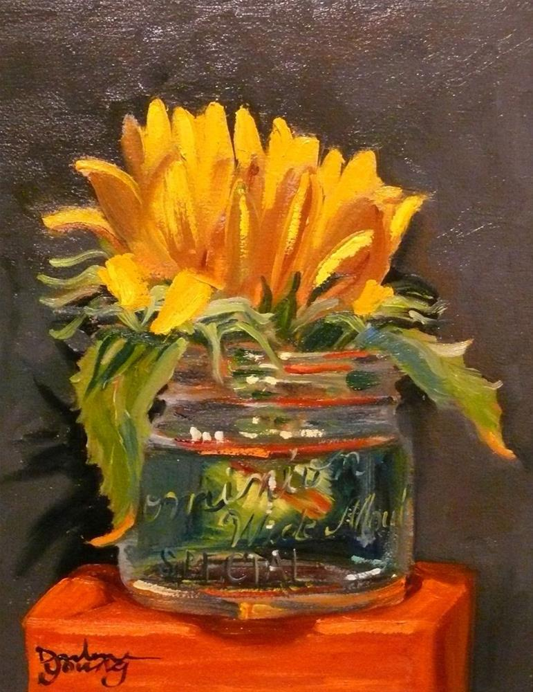"""678 Sunflower in a Wide Mouth Jar"" original fine art by Darlene Young"