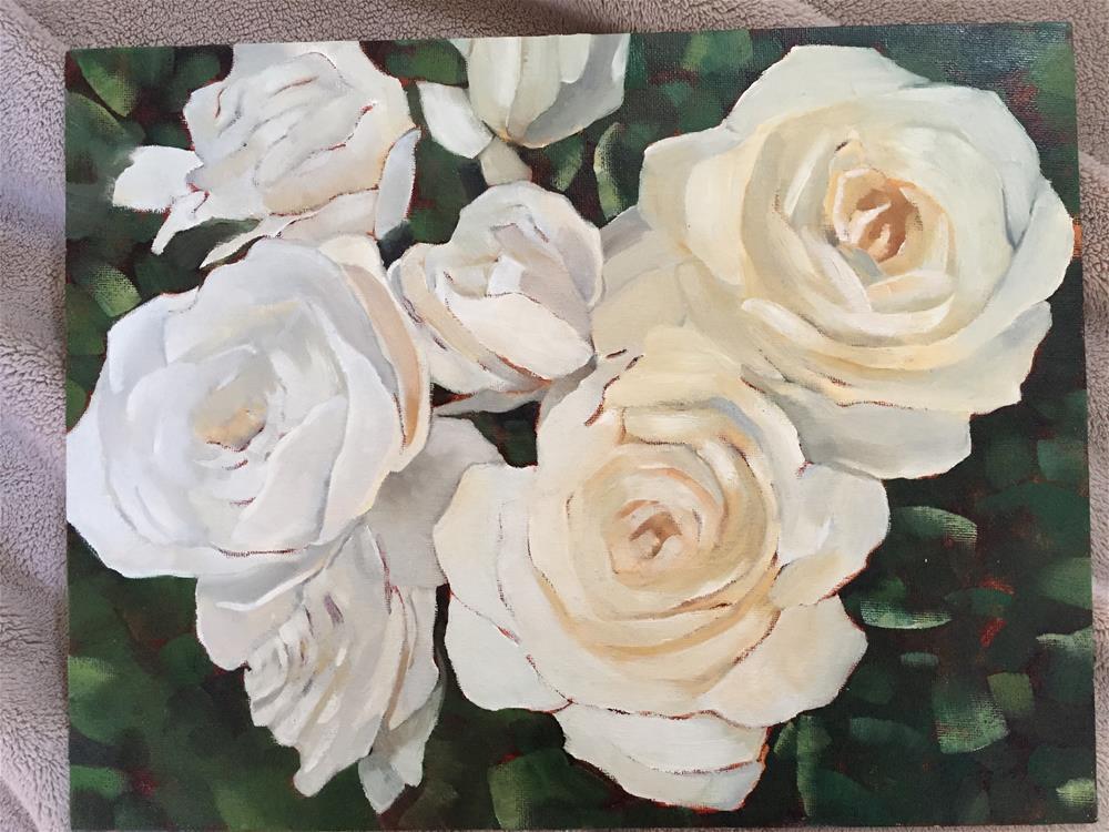 """white roses"" original fine art by vicki Hardesty"
