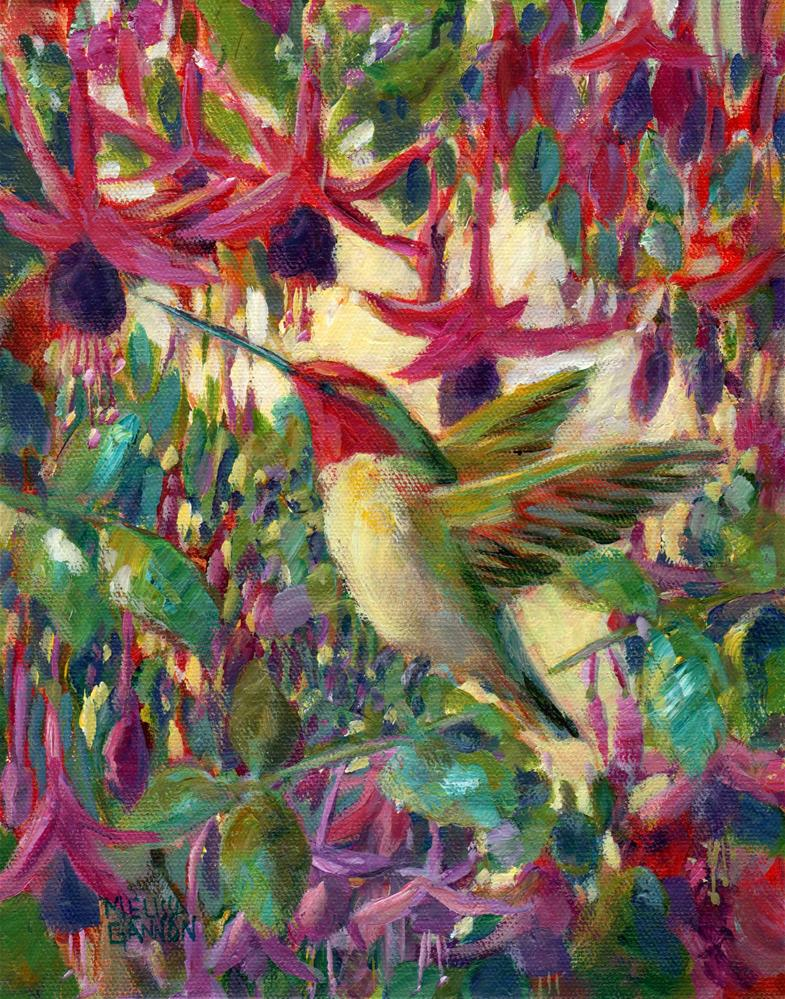 """Fuchsia Hummingbird Dance"" original fine art by Melissa Gannon"
