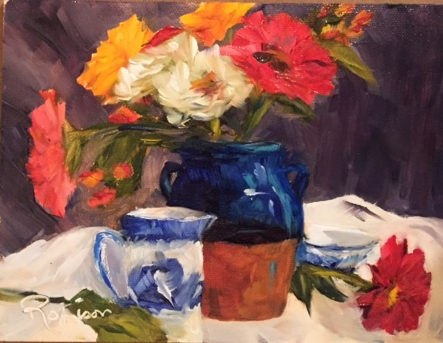 """Pitcher full of color"" original fine art by Renee Robison"