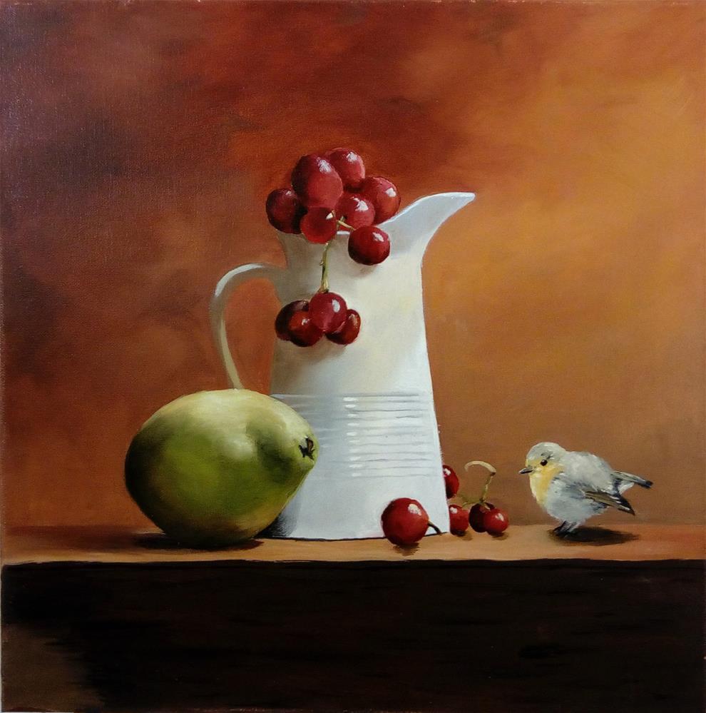 """Still life with bird"" original fine art by Laura B."