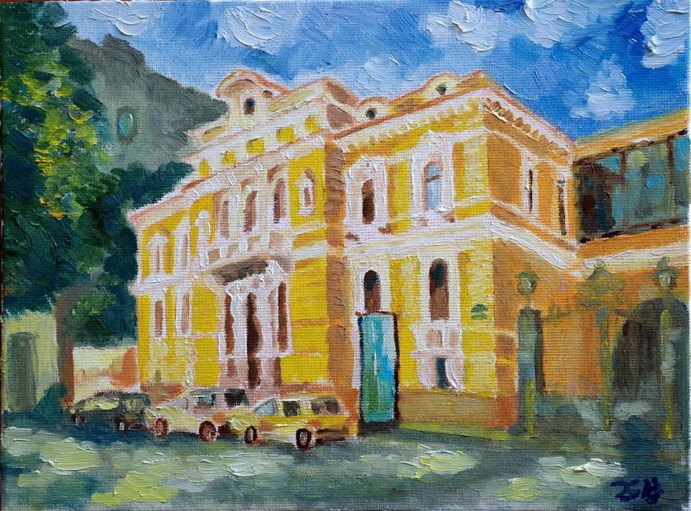 """yellow house"" original fine art by Juri Semjonov"