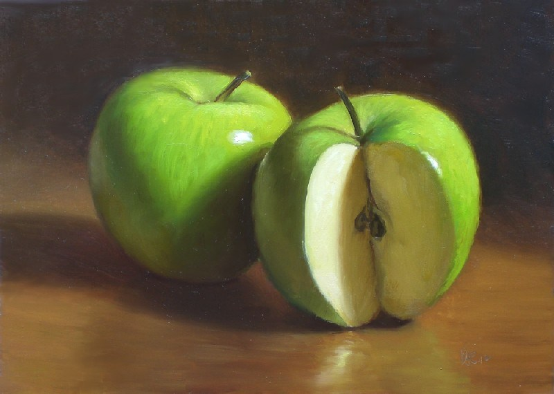"""Pair of Granny Smiths"" original fine art by Debra Becks Cooper"
