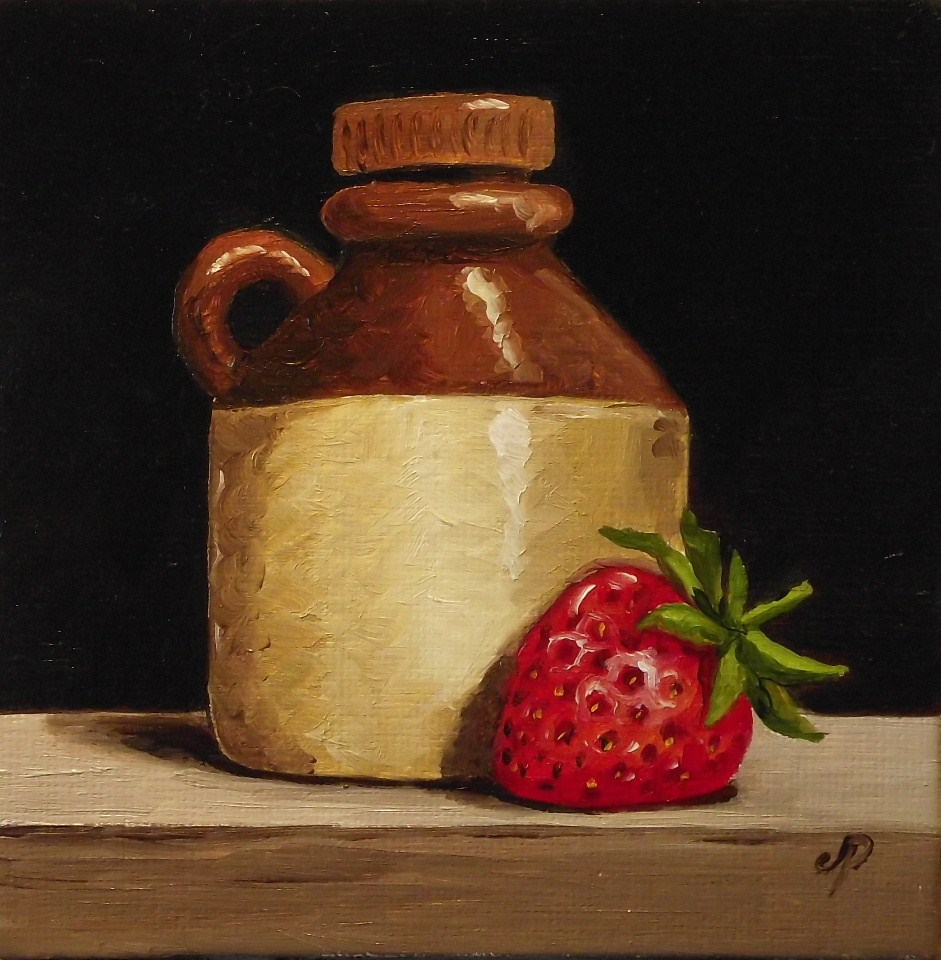 """Cider bottle & Strawberry"" original fine art by Jane Palmer"