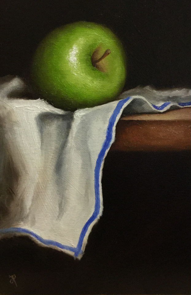 """Green apple on cloth"" original fine art by Jane Palmer"