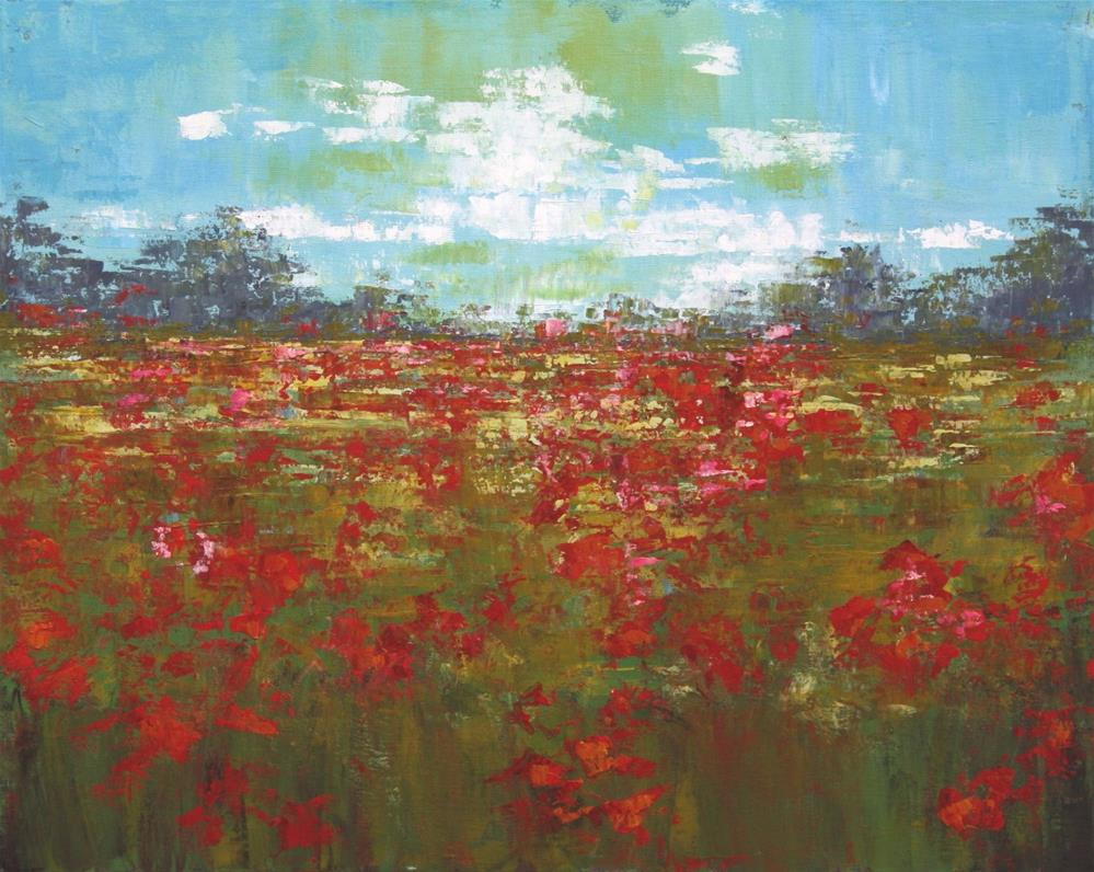 """Red Poppy Field"" original fine art by Sage Mountain"