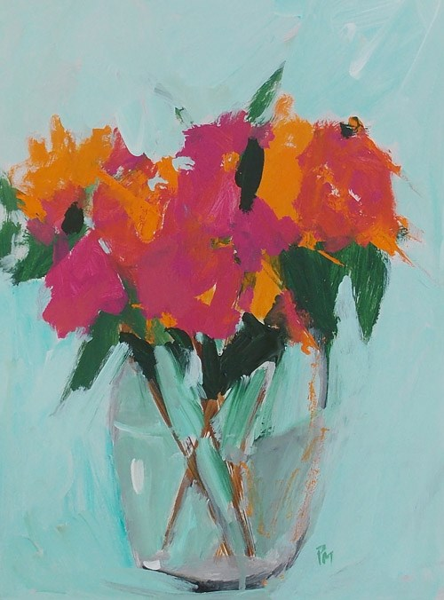 """Orange and Pink Blooms"" original fine art by Pamela Munger"