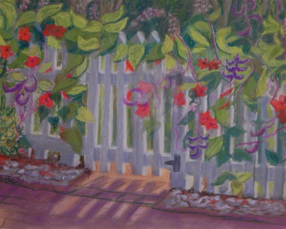 """Flower-Covered Fence"" original fine art by Elaine Shortall"