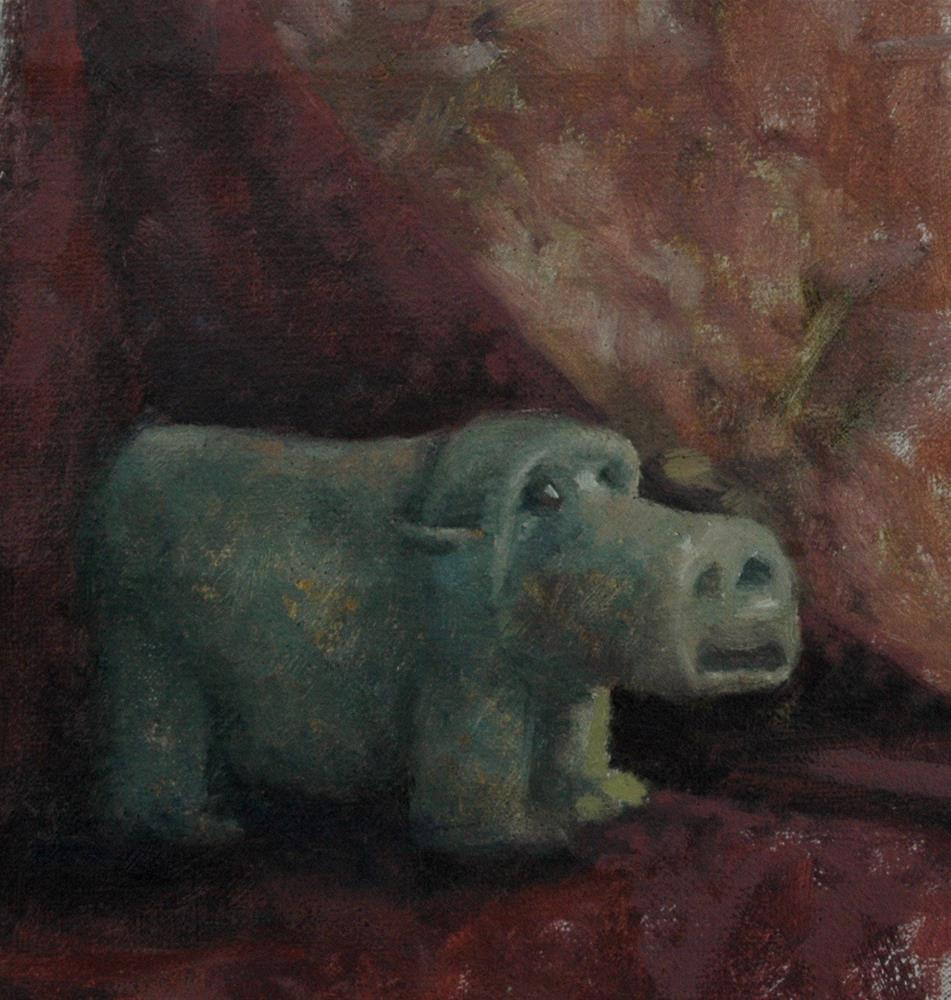 """Blue Hippo"" original fine art by Eden Compton"