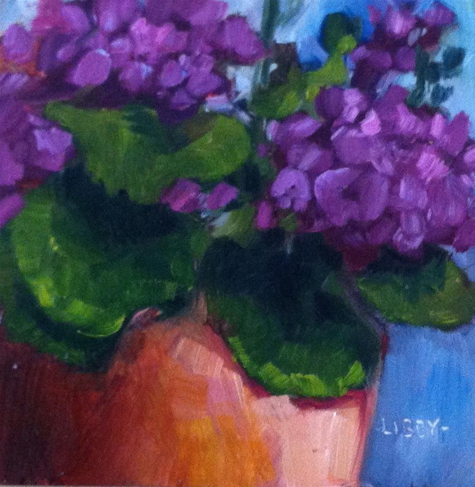 """Purple Geraniums"" original fine art by Libby Anderson"