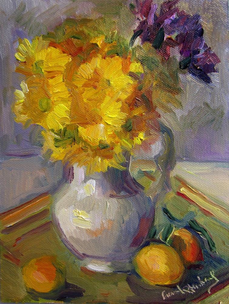 """Daisies in Cream Jug"" original fine art by Carol Steinberg"
