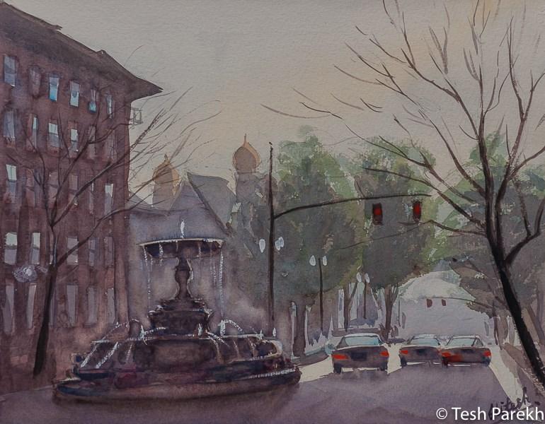 """Kenan Memorial Fountain"" original fine art by Tesh Parekh"