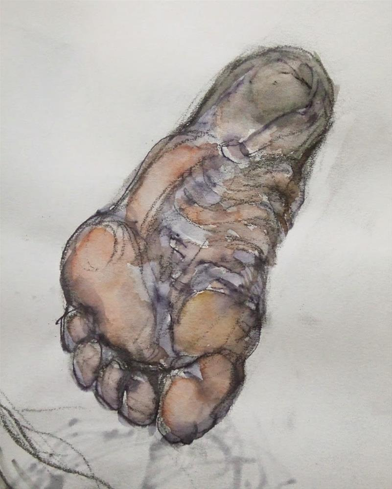 """Dirty Foot"" original fine art by Mitsuru Cope"