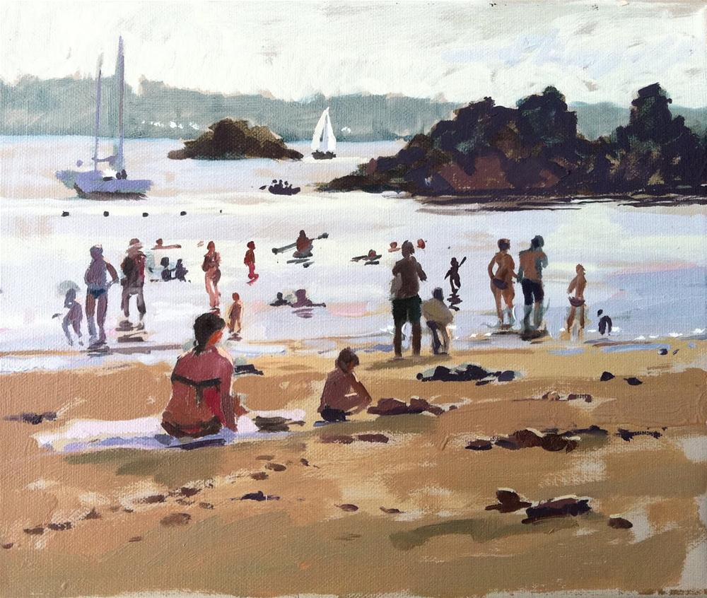 """Incoming tide and bathers, Bréhat"" original fine art by Haidee-Jo Summers ROI"