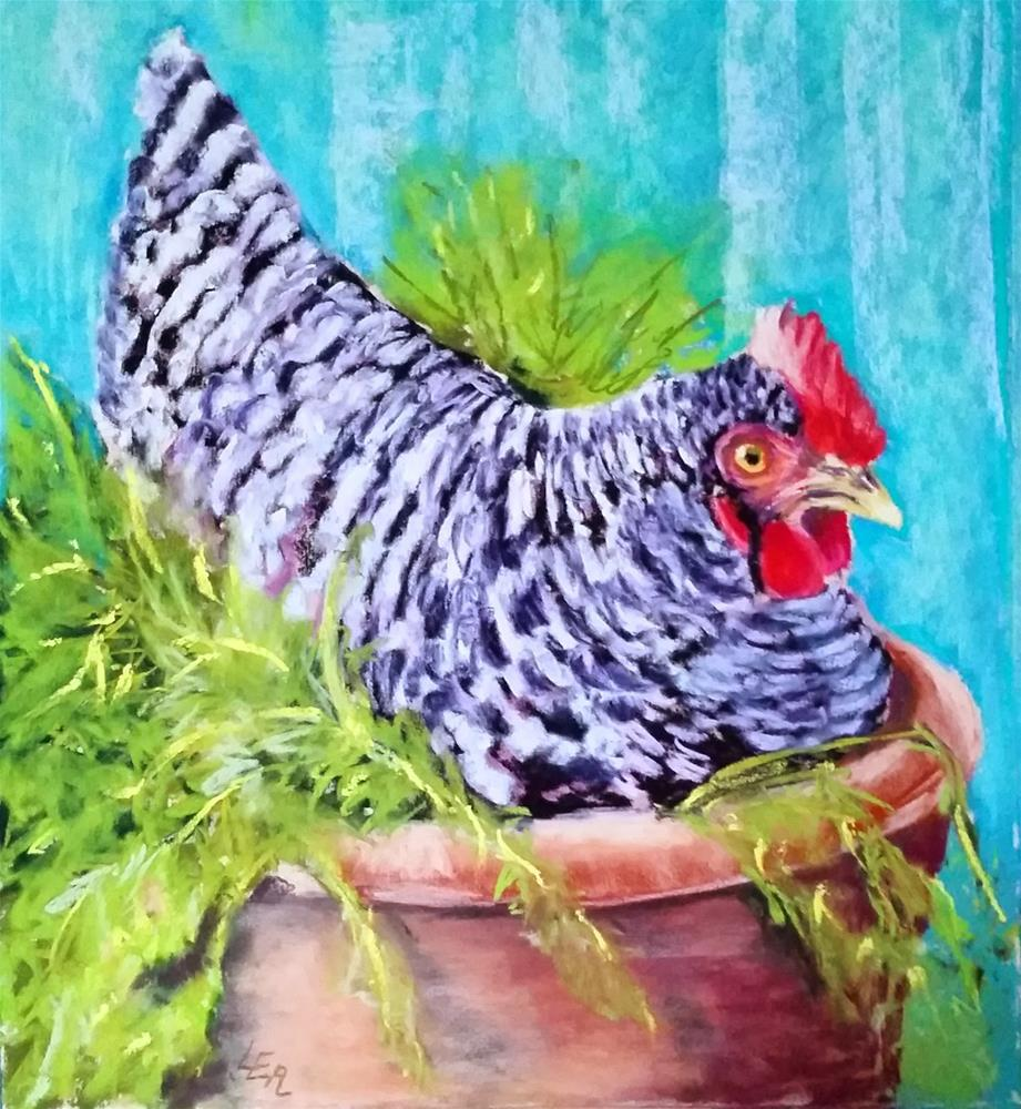 """Pot Calling Hen"" original fine art by Anna Lisa Leal"