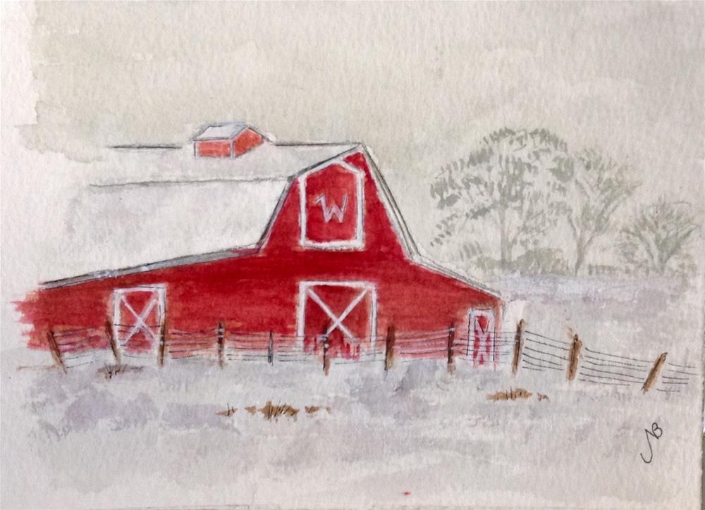 """""""barn # 4 Watercolor/ink 5 X 7 NFS"""" original fine art by Nancy Beard"""