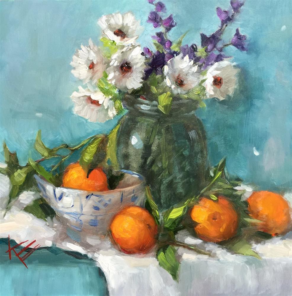 """Daisies & Oranges"" original fine art by Krista Eaton"