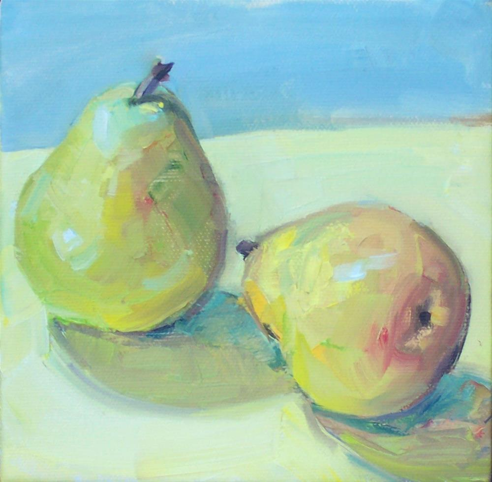 """Two Pear,still life,oil on canvas,6x6,priceNFS"" original fine art by Joy Olney"