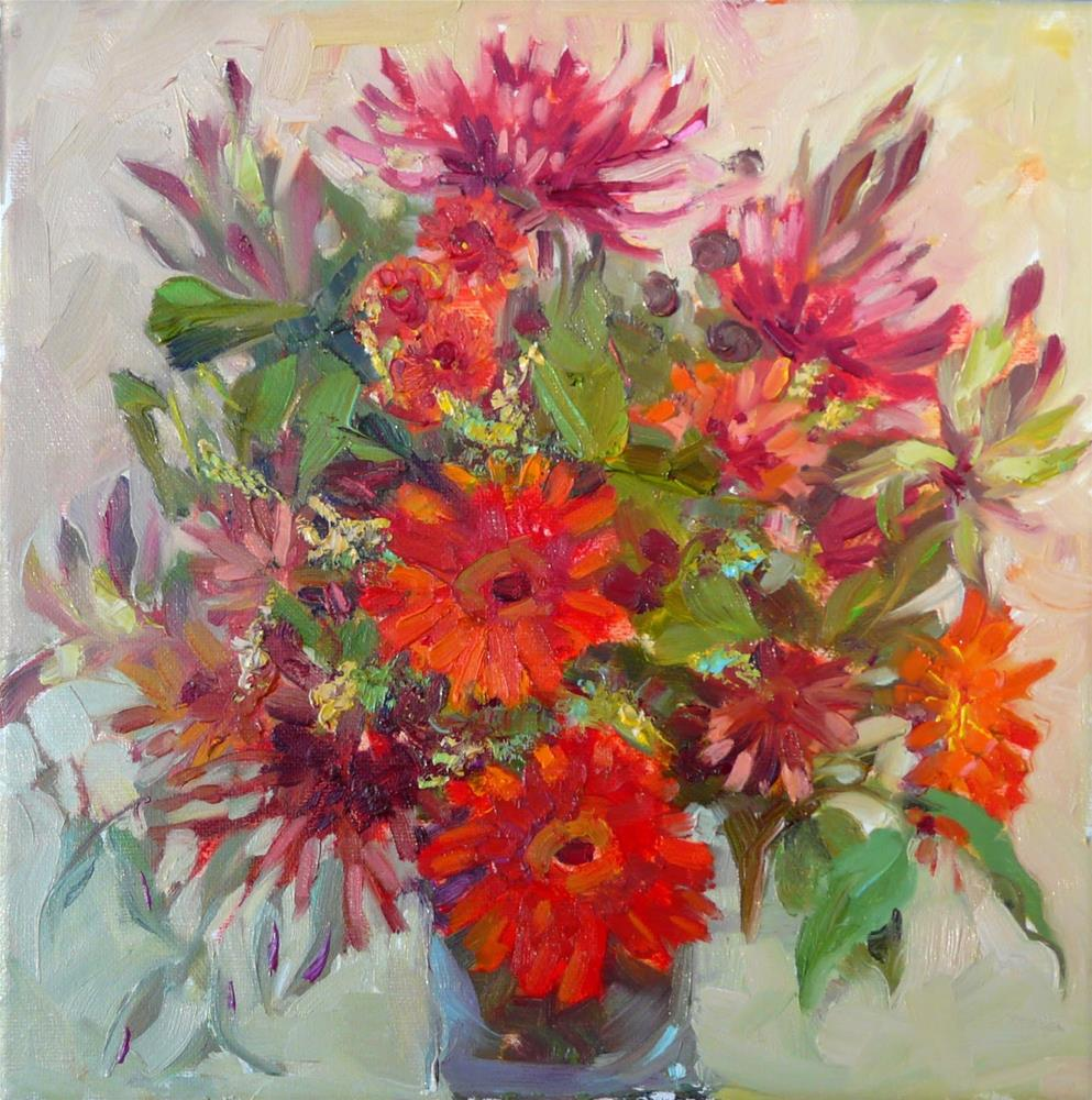 """November Flowers,still life,oil on canvas,12x12,price$350"" original fine art by Joy Olney"