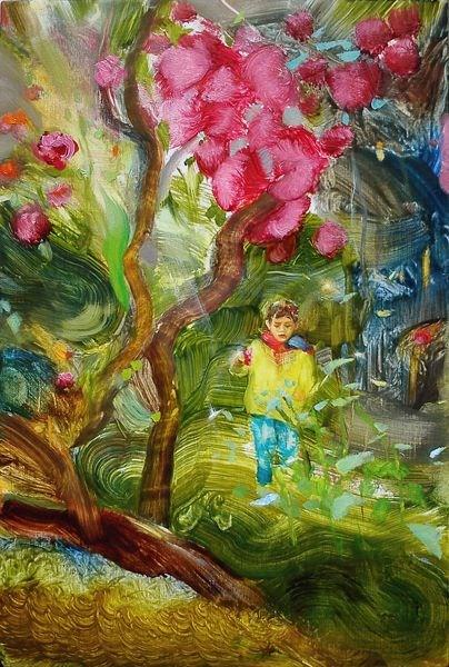 """Between rhododendrons"" original fine art by Eszter Szicso"