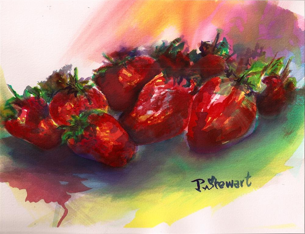 """8.5x11 Strawberries Fruit Still Life Watercolor Colorful Wild Penny Lee StewArt"" original fine art by Penny Lee StewArt"