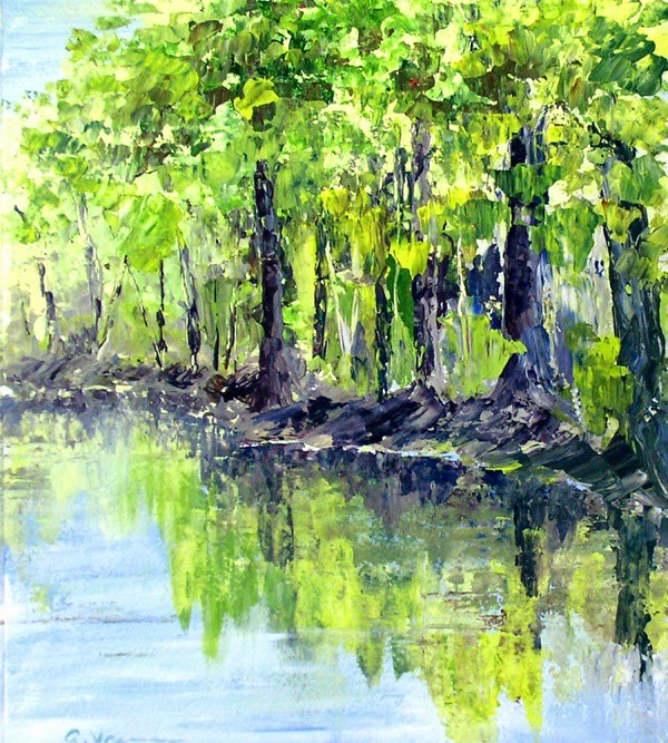 """Shady River Bank"" original fine art by Anna Vreman"