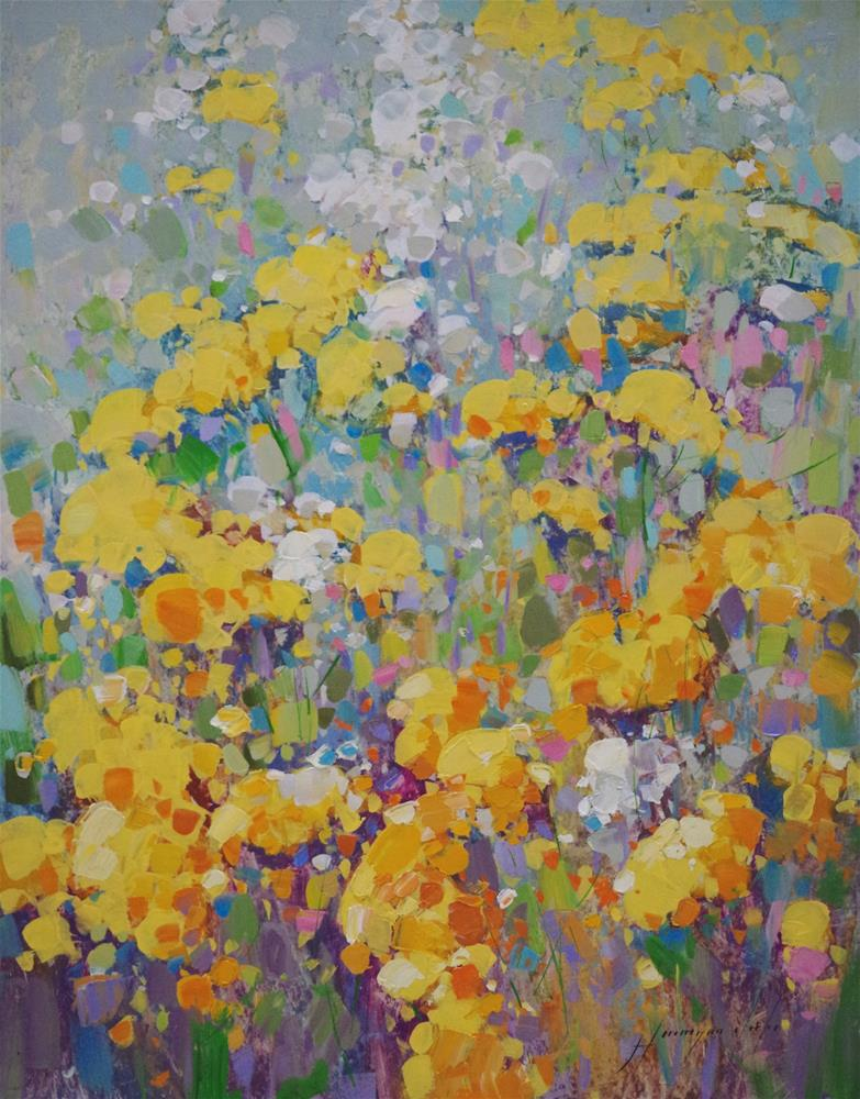 """Yellow Spring Flowers, Original oil Painting, Handmade art, one of a kind"" original fine art by V Yeremyan"