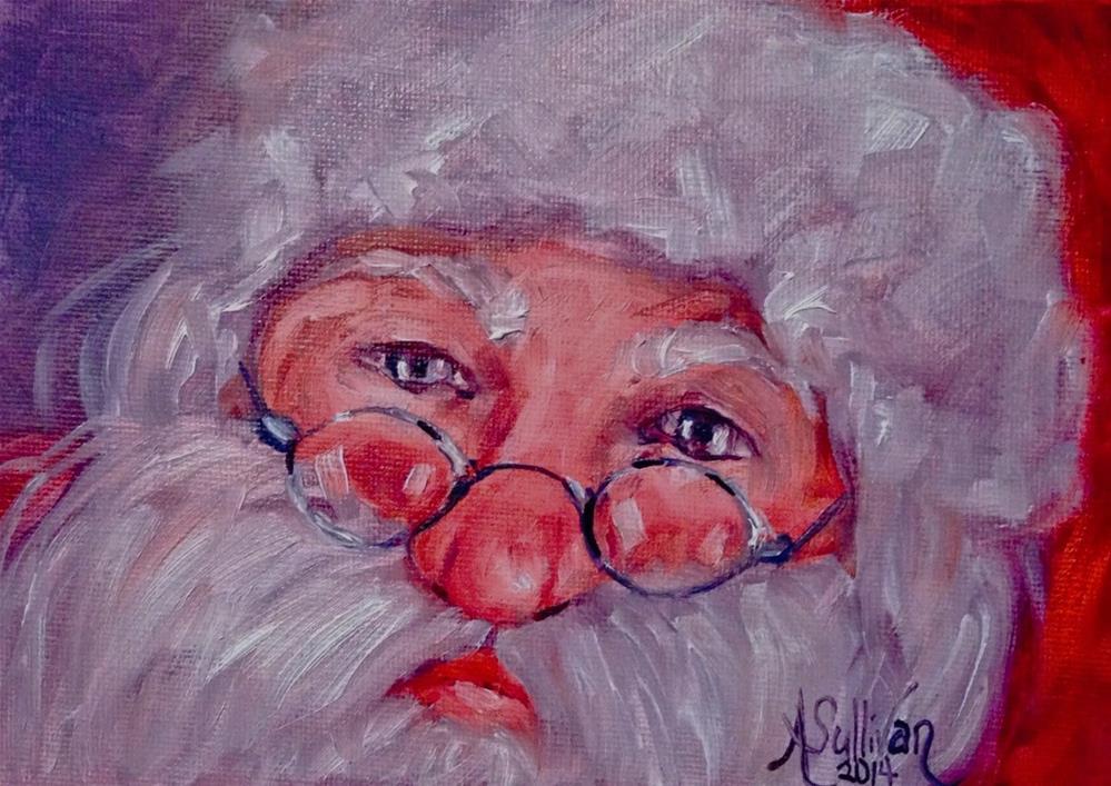 """Only Once A Year Santa painting by Alabama Artist Angela Sullivan"" original fine art by Angela Sullivan"