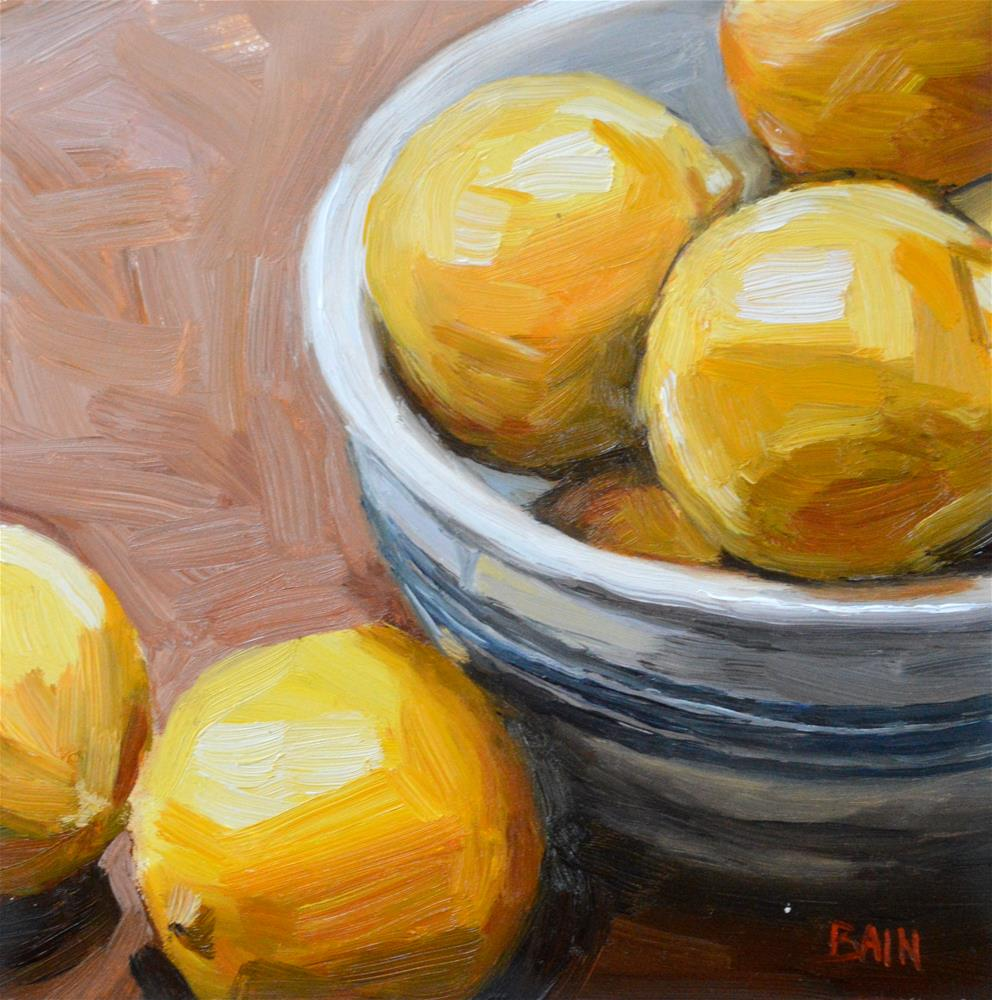 """Bowl of Oranges"" original fine art by Peter Bain"