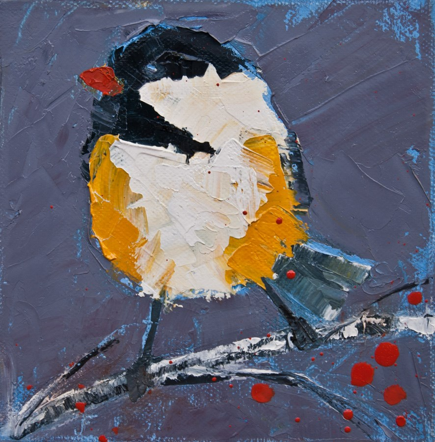"""Chickadee On Birch 2"" original fine art by Jani Freimann"