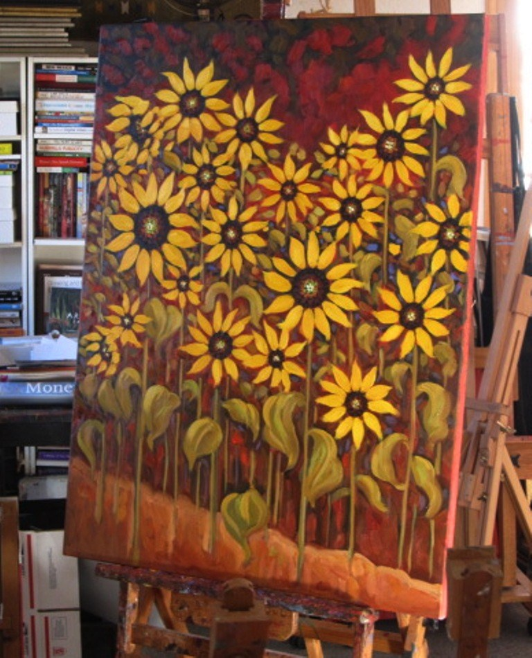 """sunflower commission"" original fine art by Dee Sanchez"