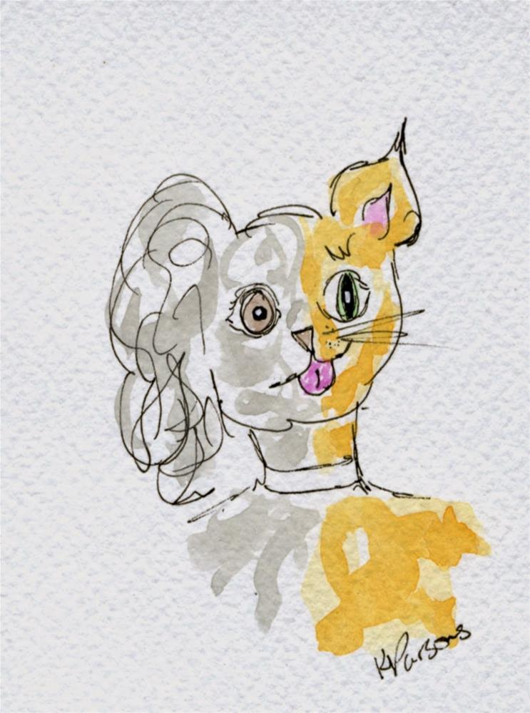 """Cat Dog"" original fine art by Kali Parsons"