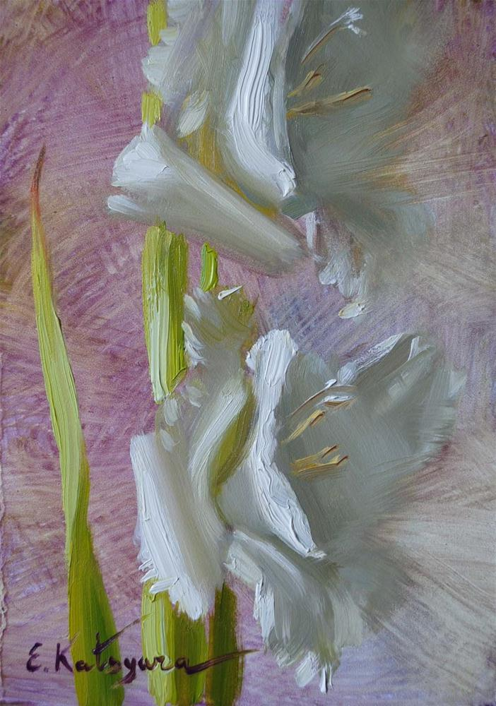 """Gladiolus Sketch"" original fine art by Elena Katsyura"