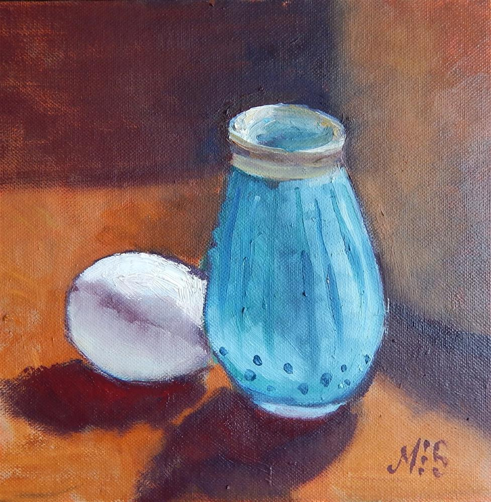 """Vase and Egg in High Contrast"" original fine art by Megan Schembre"