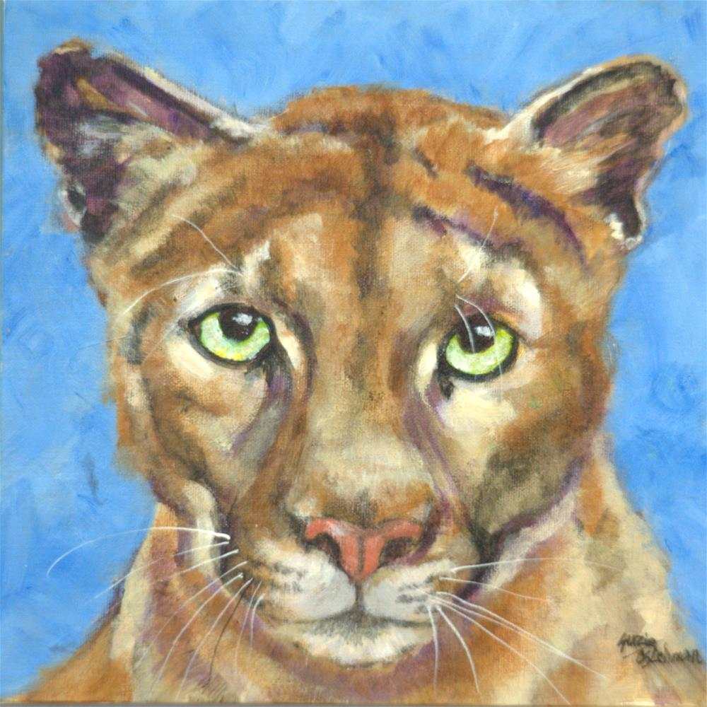 """Cougar"" original fine art by Carla Ridener"