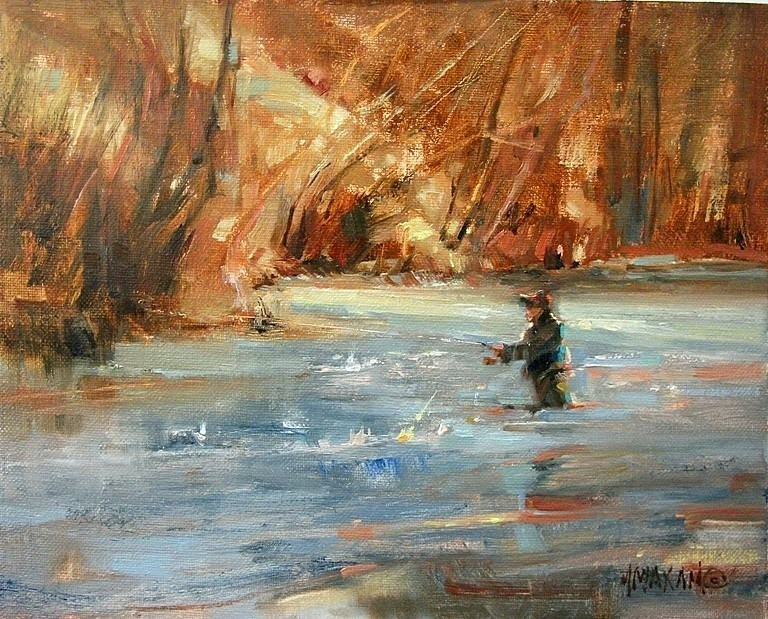 """Winter Fisher"" original fine art by Mary Maxam"