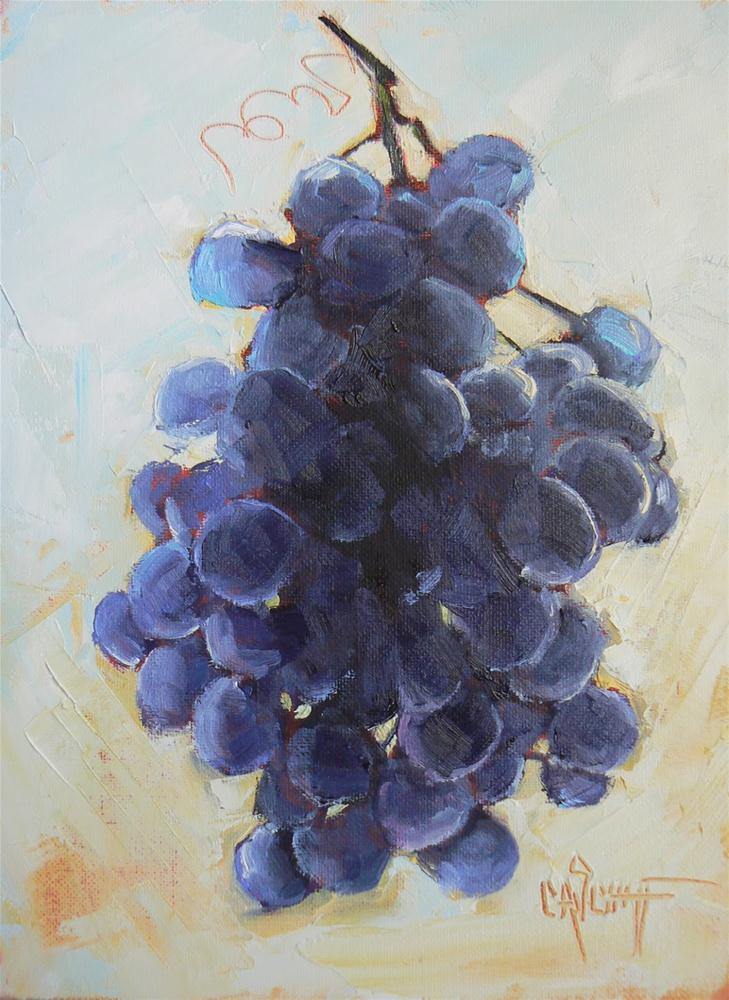 """Daily Painting Still Life Grapes, 6x8"" original fine art by Carol Schiff"