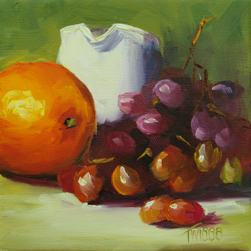 """Orange & Red Grapes with Cream"" original fine art by Lori Twiggs"