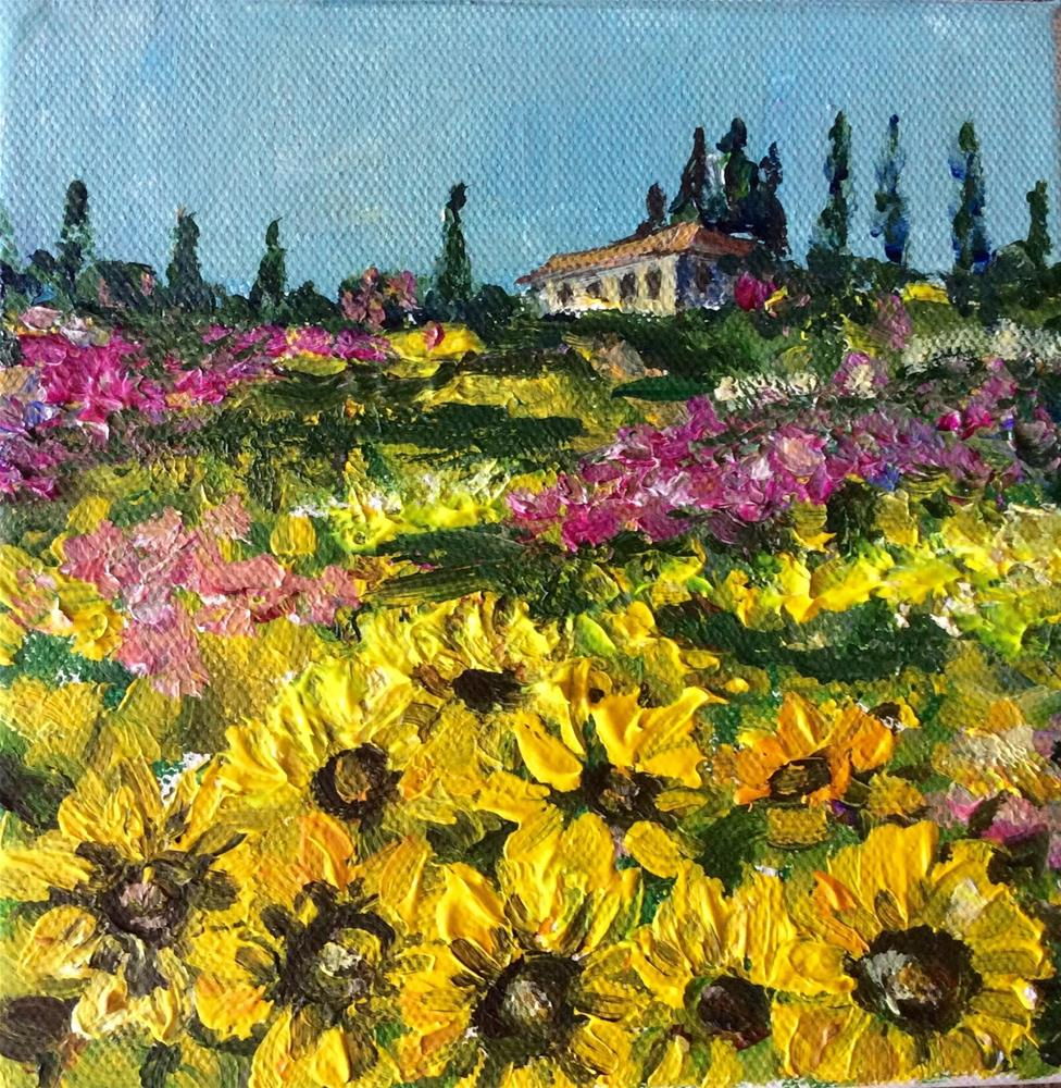 """Tuscany sunflowers"" original fine art by Sonia von Walter"