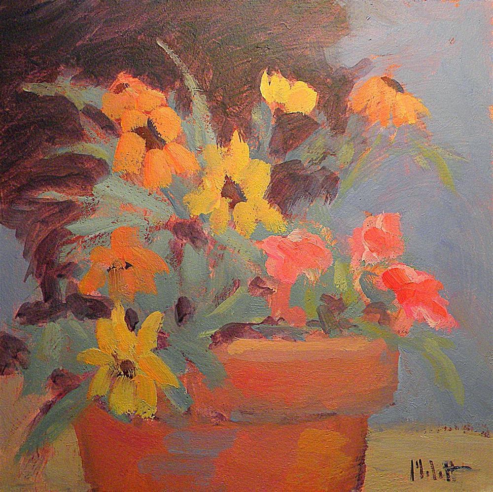"""Patio Floral Autumn Bouquet Daily Oil Painting Heidi Malott"" original fine art by Heidi Malott"