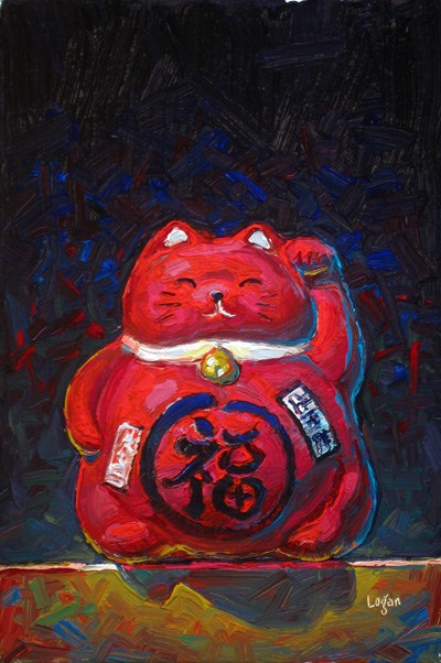 """Little Red Maneki Neko"" original fine art by Raymond Logan"