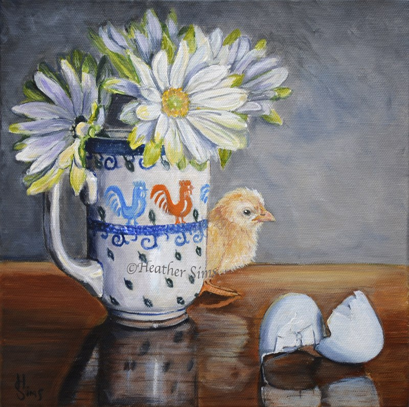 """Baby Chick: Polish Pottery XC"" original fine art by Heather Sims"