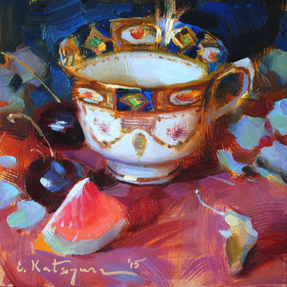 """Cobalt Cup and Grapefruit"" original fine art by Elena Katsyura"