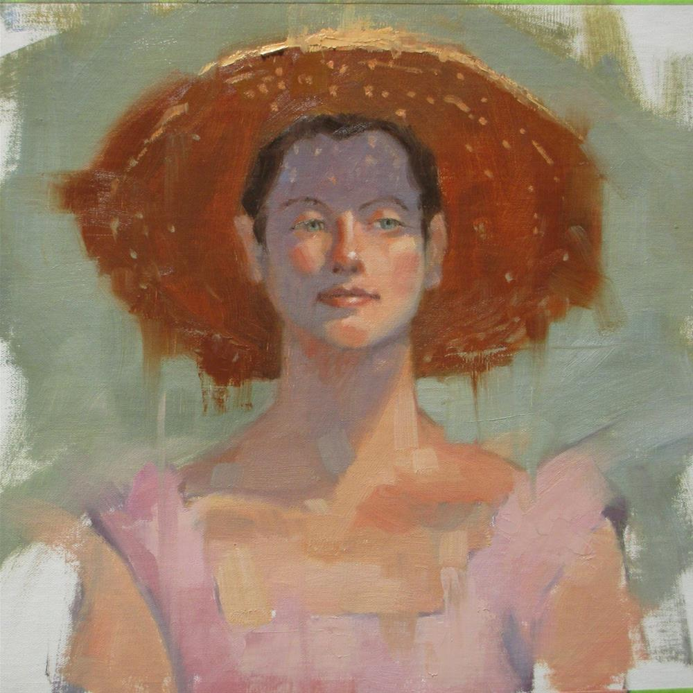 """Sparkling Sun Hat  12in x 12in   oil"" original fine art by Claudia Hammer"