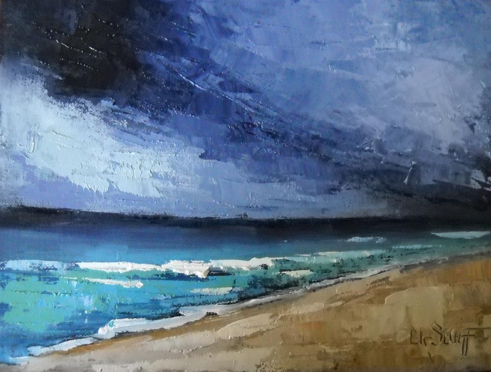 """Small Seascape, Stormy Beach Day by Carol Schiff, 6x8 Oil, Palette Knife Seascape"" original fine art by Carol Schiff"