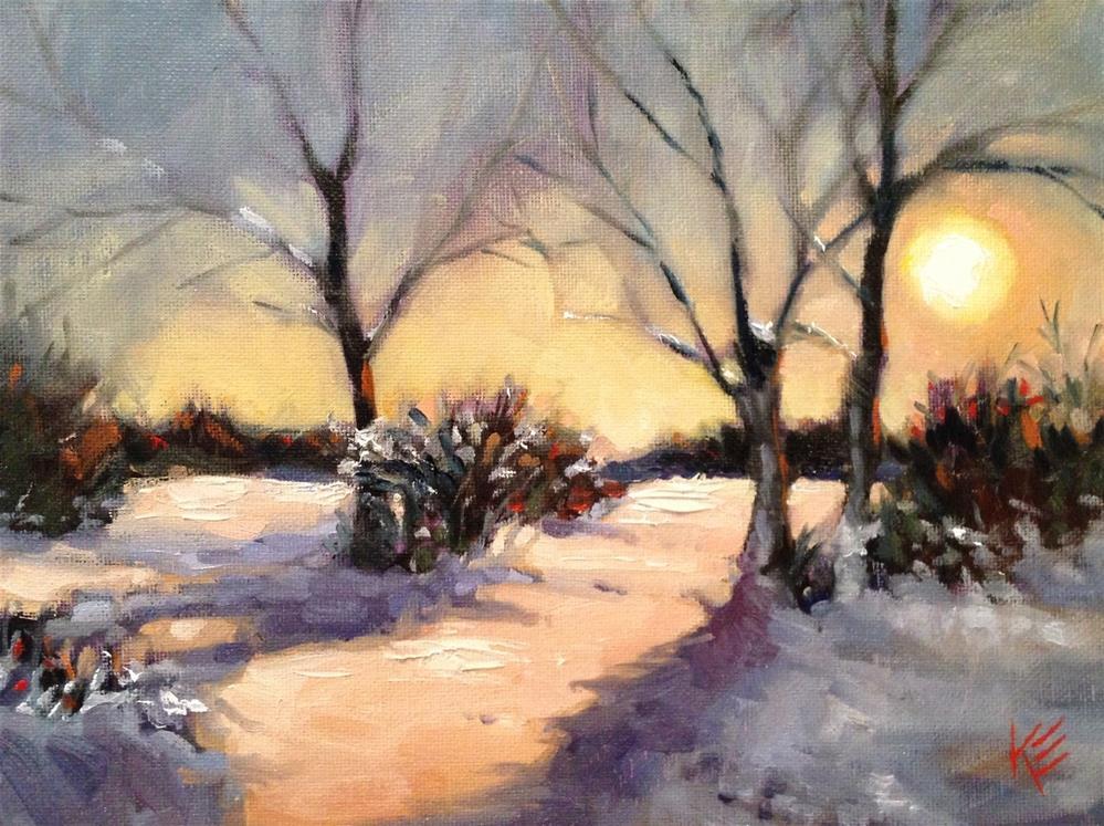 """Winter Sunset"" original fine art by Krista Eaton"