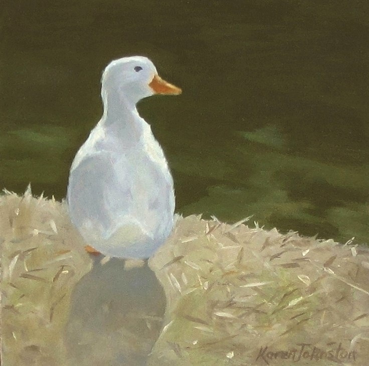 """What's good for the goose...a swim!"" original fine art by Karen Johnston"