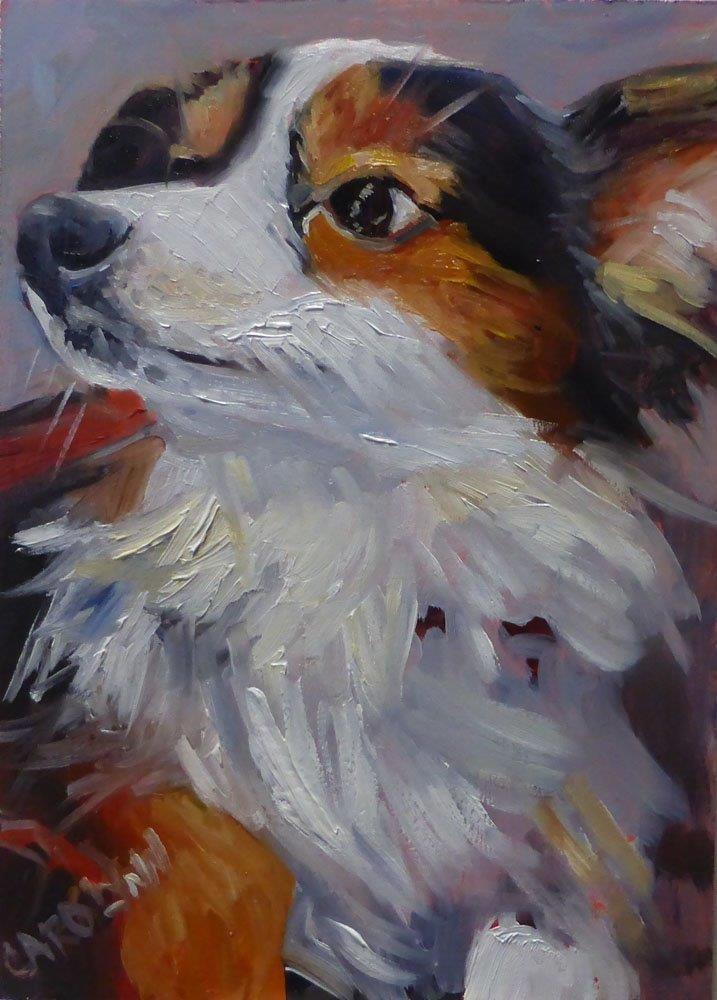 """""""NYC Subway Dog 3"""" original fine art by Carolynn Doan"""